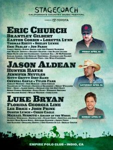 Eric Church, Jason Aldean and Luke Bryan will headline the 2014 Stagecoach Country Music Festival.  The festival will run April 25-27 at the Empire Polo Club in Indio. Click to read more about the lineup and ticket information on PE.com/iGuide.