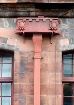 Art Nouveau motifs decorating downpipe at Lighthouse, Glasgow Diy Gutters, Copper Gutters, Copper Roof, Architecture Details, Modern Architecture, House For An Art Lover, Roof Edge, Bungalow Renovation, Glasgow School Of Art