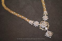 Latest Diamond Haram Designs, Diamond Long Necklace Designs