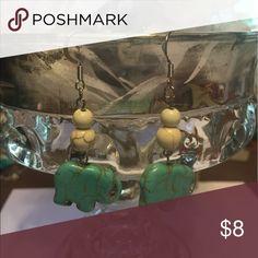 Faux turquoise elephant earrings. Handmade. Faux turquoise elephant earrings. Handmade. Handmade Jewelry Earrings