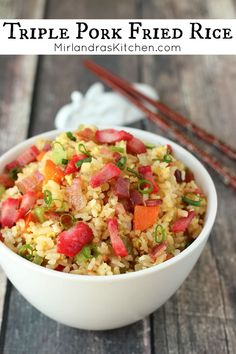 This Triple Pork Fried Rice is bursting with pork and flavor. It is quite simply one of the best fried rice recipes in existence. We always look forward to this meal and it is one of our go to options for a family dinner on a busy night. Side Dish Recipes, Rice Recipes, Pork Recipes, Asian Recipes, New Recipes, Vegetarian Recipes, Dinner Recipes, Amazing Recipes, Easy Recipes