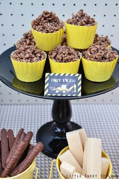 Boy's Construction Birthday Party Dirt Cup Ideas