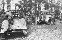 German self-propelled guns are made ready for combat in the the area of Caen after the landing of Allied forces in Normandy