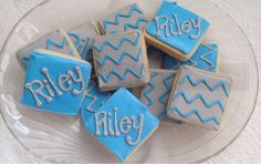 Personalized Chevron Sugar Cookies4 dozen by TheSugarCo on Etsy, $26.00