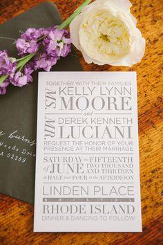 #Wedding #Invitations   #Modern   Photography: Rebecca Arthurs - rebeccaarthurs.com   http://www.stylemepretty.com/2013/11/06/bristol-rhode-island-wedding-from-rebecca-arthurs