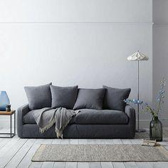 BuyFloppy Jo 3 Seater Sofa by Loaf at John Lewis in Gunmetal Brushed Cotton, Light Leg Online at johnlewis.com