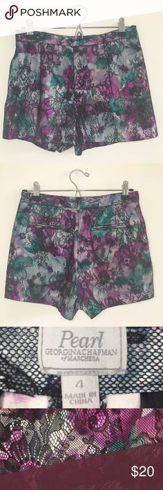 Marchesa Pearl by Georgina Chapman Lace Shorts Beautiful high-waisted shorts in a teal and purple print with black lace overlay throughout + two functional front pockets.  Gorgeous statement piece 💕    Stats (laying flat): Inseam: about 2.5"