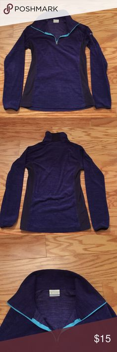 Columbia Light Fleece Pullover 3/4 Zipper Front Columbia Light Fleece Pullover Purple 3/4 Zipper Front Columbia Jackets & Coats