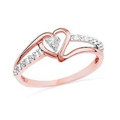Diamond Accent Heart Promise Ring in 10K Rose Gold - View All Rings - Zales How cute would this be for a promise ring xD I love hearts and this would be perfect xD
