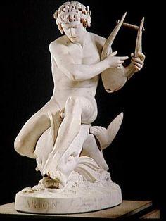 """Ernest Eugène Hiolle: """"Arion assis sur le Dauphin"""" 1870, Marble, Dimensions: 143 H; 96.5 L; 142 P, Current location: Paris, musée d'Orsay."""