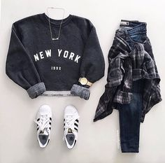 Adidas + grey sweater + jeans