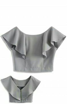 FRONT - Frilling shoulder - Boat neckline with deep V-shape back - Exposed back zip closure - Cotton, Polyester - Machine washable Size(cm) Length Bust Waist S/M 34 94 74 Size(inch) Length Bust Waist S/M 37 29 * S/M fits for Drift in a Frilling Grey Cropp Blouse Patterns, Saree Blouse Designs, Blouse Styles, Sewing Clothes, Diy Clothes, Clothes For Women, Boat Neck Tops, Top Boat, Mode Top