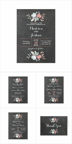 Pretty Floral Chalkboard Wedding Suite