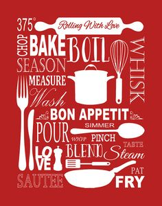 Vintage Kitchen Poster Kitchen Poster Kitchen Print by Woofworld ...