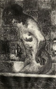 Woman Standing in her Bathtub (Femme debout dans sa baignoire)Pierre Bonnard - in black on simili Japon, cm x cm Van Gogh Museum, Amsterdam (Vincent van Gogh Foundation) Pierre Bonnard, Van Gogh Museum, Woman Standing, Vincent Van Gogh, Vans, Drawings, Artwork, Painting, Bathtub