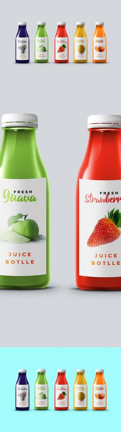 Simple front label shows juice color and an accompanying fruit of the same color to make a direct point.