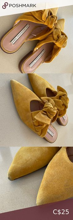 Zara Mustard Mule with Bow - Size 37 Zara Mustard Mule with Bow Size: 37 Worn: 2 Times Condition: Little wear on the point of the toe (pictured) Zara Shoes Flats & Loafers