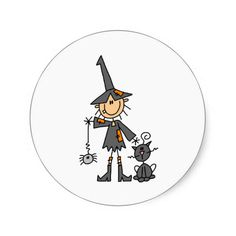 Witch with Black Cat Round Stickers