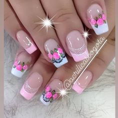 Cute Nail Art, Cute Nails, Pretty Nails, Valentine's Day Nail Designs, Square Nail Designs, Pink Manicure, Pink Nails, Organic Nails, Best Acrylic Nails