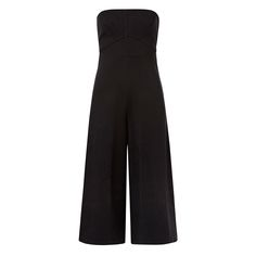 Ponte Strapless Jumpsuit. In a neat fitting silhouette this jumpsuit features panelling detail and a wide leg fit. Invisible back zip closure and gel tape inside neck for support. Available in Black as shown.