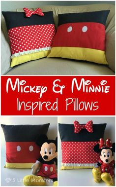 disney crafts Free tutorial for a Mickey and Minnie Mouse inspired pillow set. Simple color blocked piecing using classic Mickey and Minnie colors gives a square pillow the look of the c Patchwork Disney, Disney Quilt, Disney Classroom, Mickey Mouse Quilt, Mickey Minnie Mouse, Mickey Mouse Crafts, Mickey Mouse Chair, Crochet Mickey Mouse, Comforters