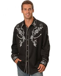 Scully Floral Embroidered Vintage Western Shirt