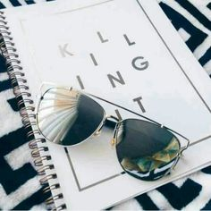 """HP x2 Oversized silver mirror sunnies These modern mirror shades have a chic vintage cut that reminds me of the 50's, but they're brand new! Neutral metallic & oversized shape lenses really give these sunglasses a unique look with New white stems vs black that I had before only shown for more overall detail // These will come with a free sunglasses case! // all photos are of my product & not to be shared, thanks! Measurements are approx 5.7"""" from metal corner to corner - each flat lens is…"""