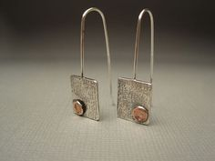 Sterling Silver Earrings with Copper Accents by lesleytinnaro, $54.00