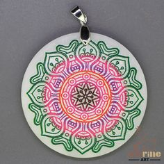 STONE  NECKLACE COLOR PAINTING MANDALA PENDANT WHITE GEMSTONE ZL6000160 #ZL #Pendant