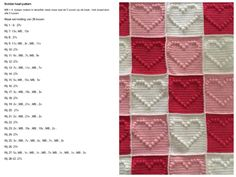 Bobbeltjes hart patroon Crochet Quilt, Crochet Baby, Crochet Heart Blanket, Bobble Stitch, Easy Crochet Patterns, Knitting Yarn, Projects To Try, Fabric, Crafts