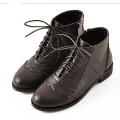 Black Leather Flat Lace Up Dress High Top Tops Shoes Ankle Boots Women SKU-143369