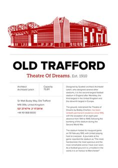 Old Trafford - History&Fact Art Print by Dessign Best Football Team, Football Stadiums, Sport Football, Manchester United Football, Manchester Uk, Pier Paolo Pasolini, Sport Hall, Salford, Old Trafford