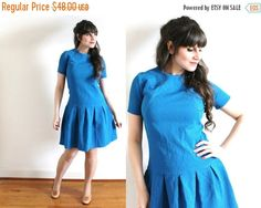 ON SALE 60s Dress / 1960s Azure Blue Mini Scooter by Coldfish