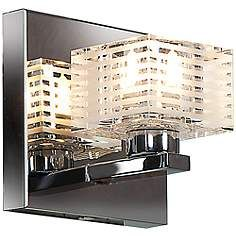 """Sophie 4 3/4"""" Wide Chrome Frosted Crystal Glass Wall Sconce"""