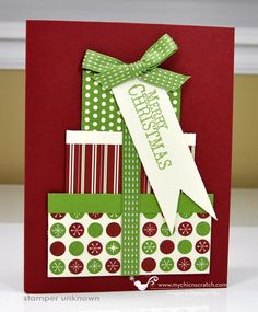 Cute Christmas stack of gifts card idea--can use up some small scraps of paper.