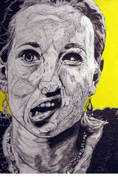 black and white drawing - self portrait - use silly expressions - finish with solid color background/negative space