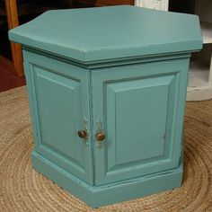 Reclaimed Vintage Robin Egg Blue Painted Accent Side Table Nightstand (CALL for a SHIP Quote). $99.00, via Etsy.