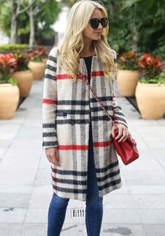 Multicolor Plaid Print Band Collar Single Button Long Sleeve Fashion Wool Coat