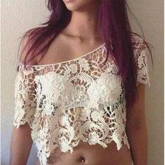 Blusa Blusas Renda Guipir Regata Importadas Femininas - R$ 65,00