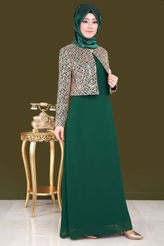 Jacket Sequins Sequin 2 Chiffon Hijab Evening Dress Emerald – World of Light Hijab Evening Dress, Hijab Dress Party, Hijab Style Dress, Modest Fashion Hijab, Abaya Fashion, Fashion Dresses, Islamic Fashion, Muslim Fashion, Chiffon Hijab