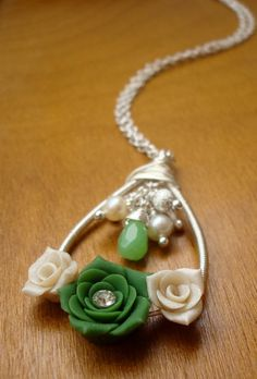 Forest of Flowers  Wire Wrapped Polymer Clay Rose by jewelparadise