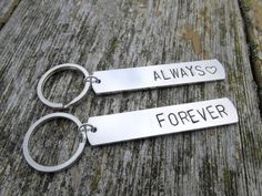 Keychains for Couples, Forever and Always, Hand Stamped Aluminum Key Chains, Set of Two Gifts For Girls, Gifts For Her, Raw Stone Jewelry, Etsy Handmade, Handmade Gifts, Beautiful Gifts, Key Chains, Handmade Accessories, Etsy Jewelry