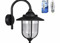 MiniSun Modern Outdoor Black Fishermans Style Swan Neck Wall Light Lantern - IP44 Rated - Supplied With 1 x  Outdoor traditional style fishermans SMD LEDwall light lamp in a beautiful black finish. A bulb is not supplied with this item. Constructed from durable weather resistant (Barcode EAN = 5016529047513) http://www.comparestoreprices.co.uk/lantern-lights/minisun-modern-outdoor-black-fishermans-style-swan-neck-wall-light-lantern--ip44-rated--supplied-with-1-x-.asp