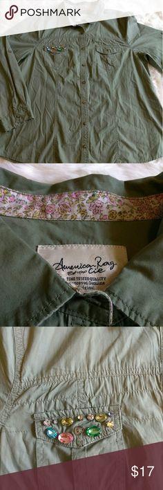 American Rag studded military green shirt Button down military green studded shirt plus size 2x American Rag Tops Button Down Shirts