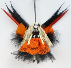 Christmas Fairy Decoration hanging peg doll Day of the by Skullbag