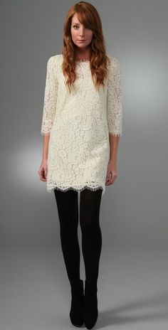 white lace with black tights - would be so cute for a holiday party