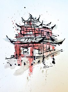 Chongqing Temple in Chinese ink and watercolor. $250