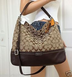 NWT COACH KHAKI BROWN SIGNATURE LEATHER SHOULDER CROSSBODY HOBO BAG PURSE