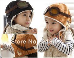 Nouveau 100% de laine gros détail, brun noir hiver, les enfants garçons chapeaux, vol bouchons enfants