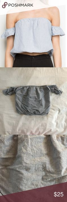 Brandy Melville Becca Top EUC, worn once, no sings of any wear. Gorgeous scrunched fit around the arms & stomach. Cropped. Also have this in white. Price firm. Bundle for discounts. Feel free to ask any questions :-) Brandy Melville Tops